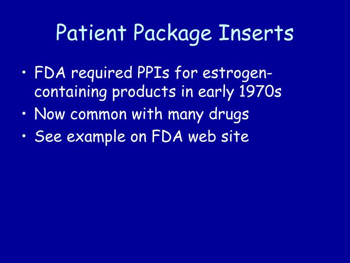 Patient Package Inserts