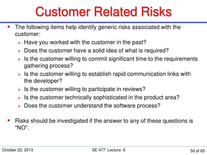 Customer Related Risks