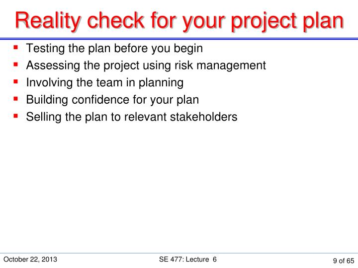 Reality check for your project plan
