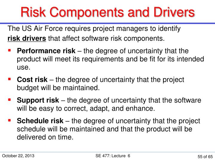 Risk Components and Drivers