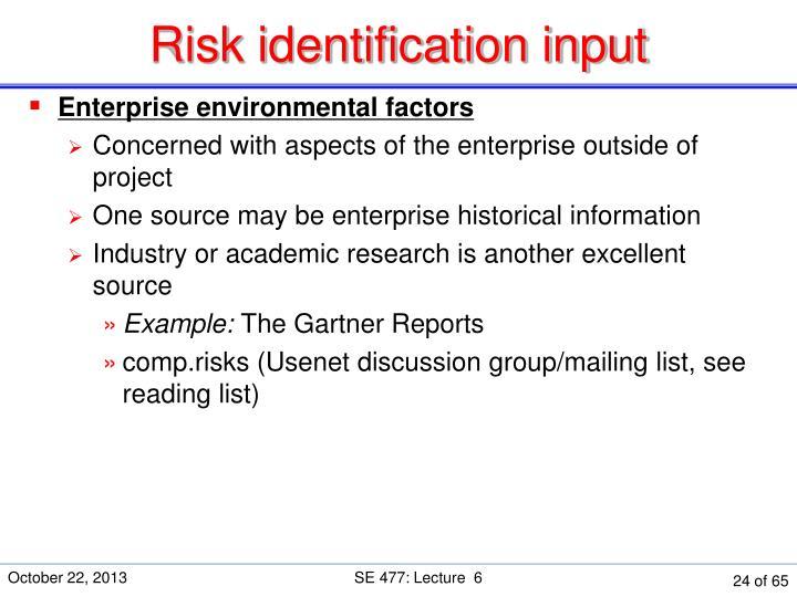 Risk identification input