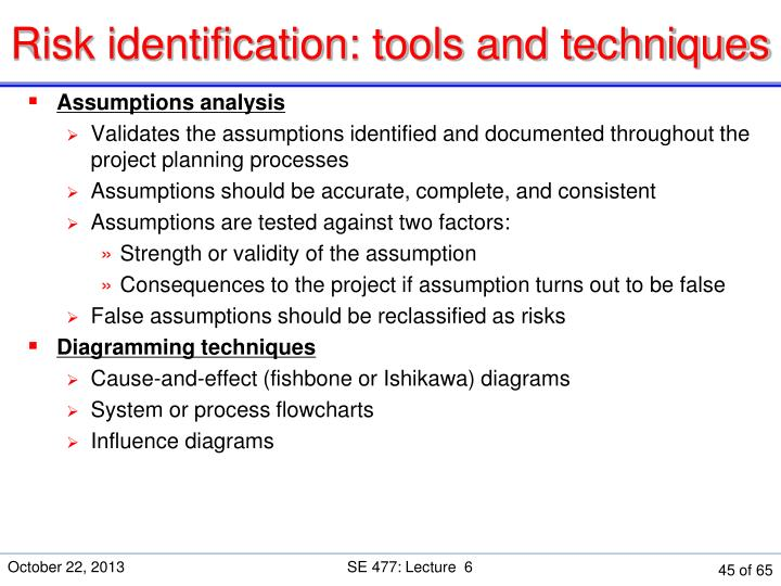 Risk identification: tools and techniques