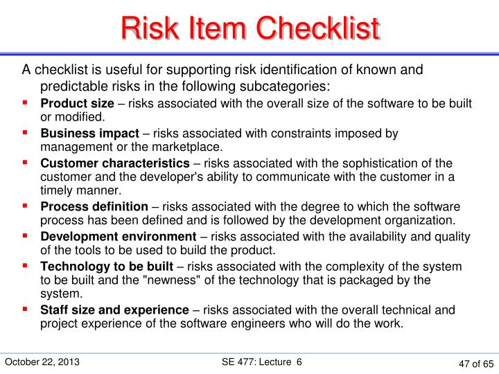 Risk Item Checklist