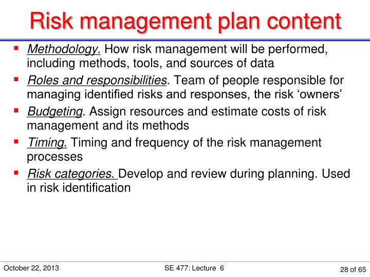 Risk management plan content