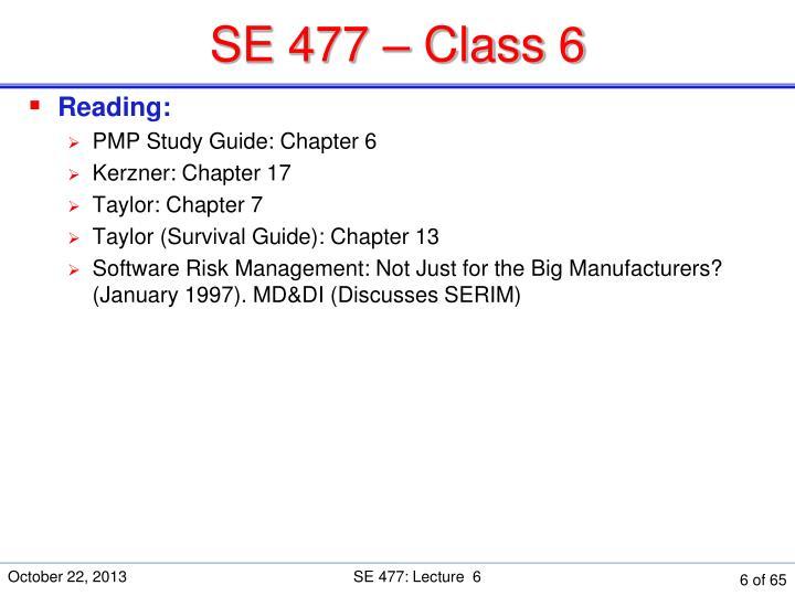 SE 477 – Class 6