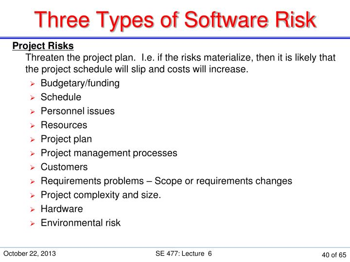 Three Types of Software Risk