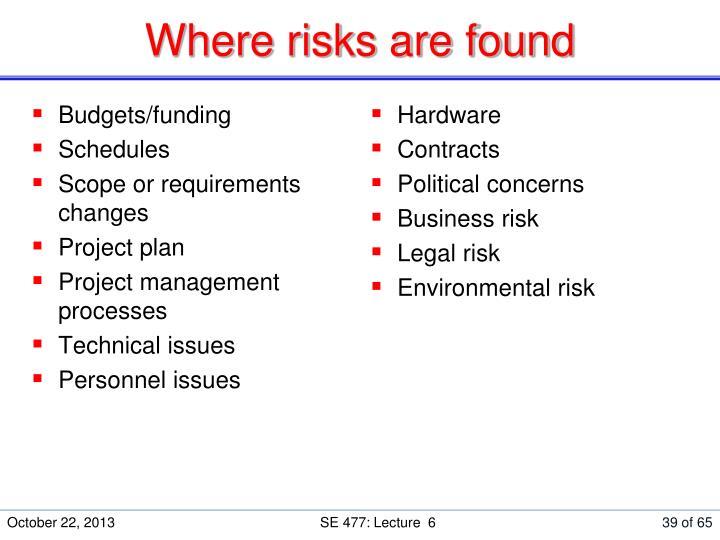 Where risks are found