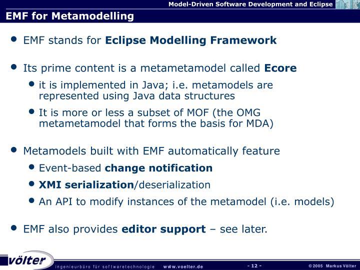 EMF for Metamodelling