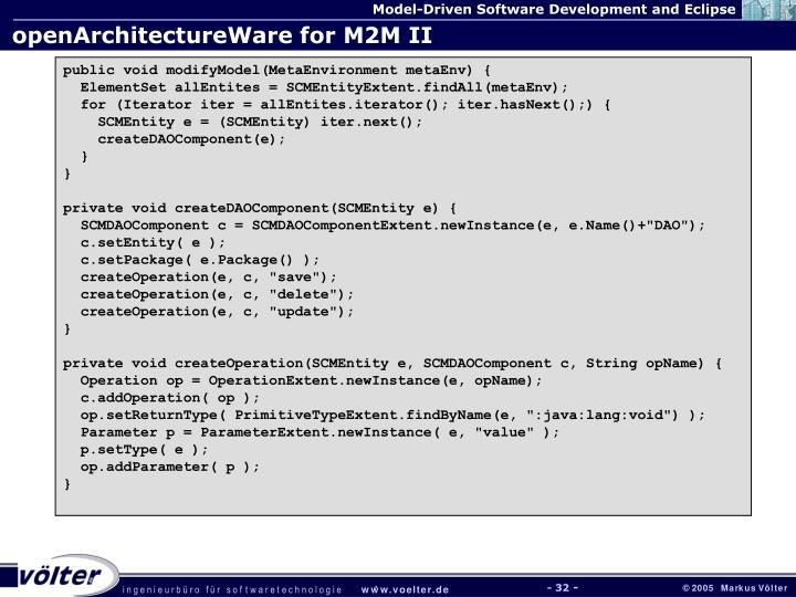 openArchitectureWare for M2M II