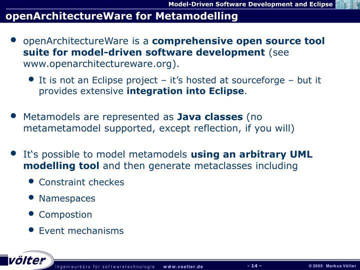 openArchitectureWare for Metamodelling