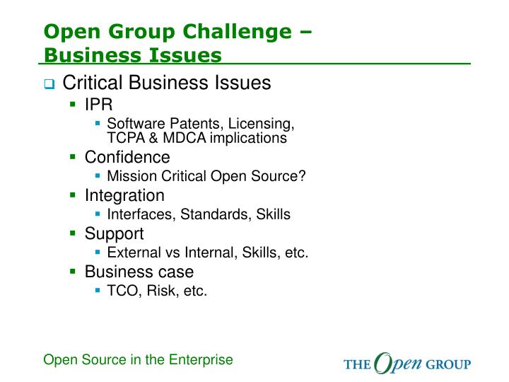 Open group challenge business issues