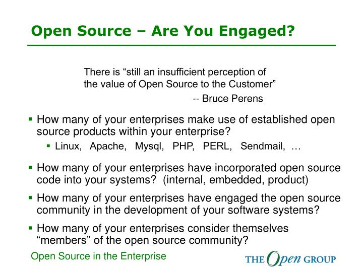 Open source are you engaged