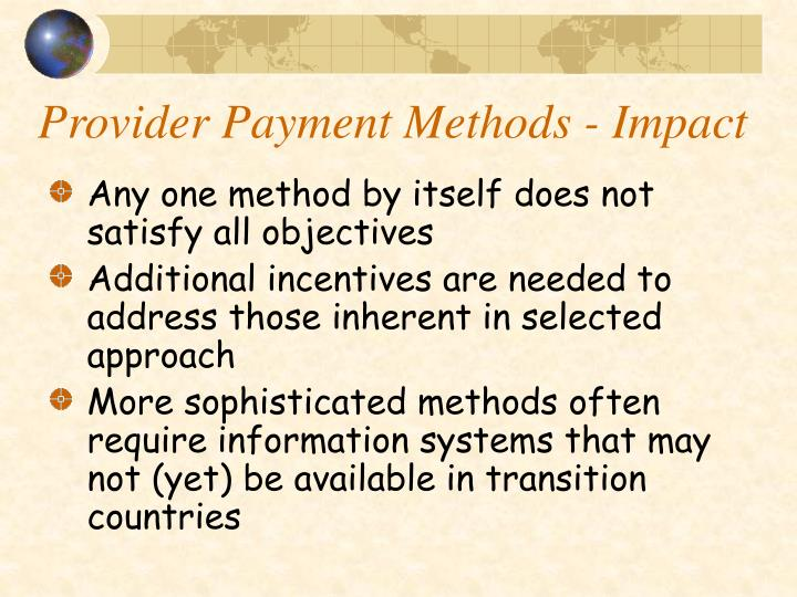 Provider Payment Methods - Impact