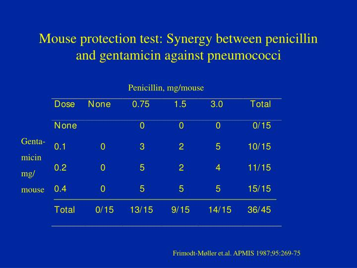 Mouse protection test: Synergy between penicillin and gentamicin against pneumococci