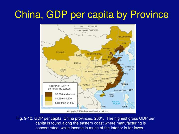 China, GDP per capita by Province