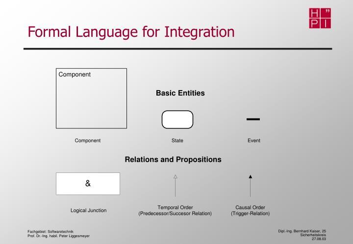 Formal Language for Integration