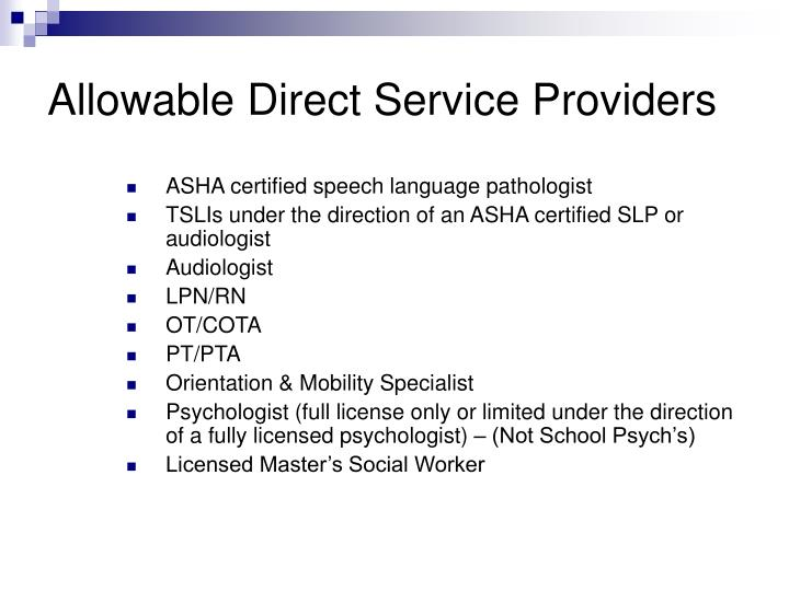 Allowable Direct Service Providers