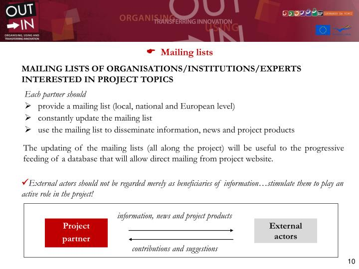 information, news and project products