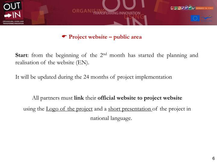 Project website – public area