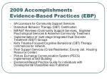 2009 accomplishments evidence based practices ebp