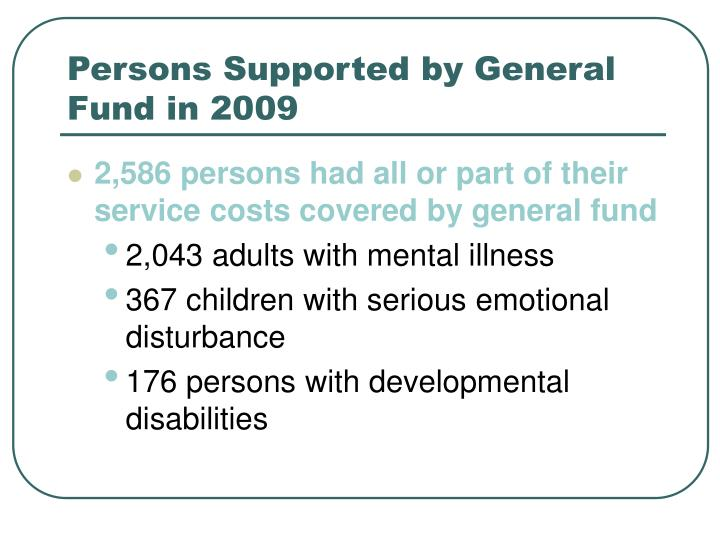 Persons Supported by General Fund in 2009
