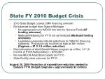 state fy 2010 budget crisis
