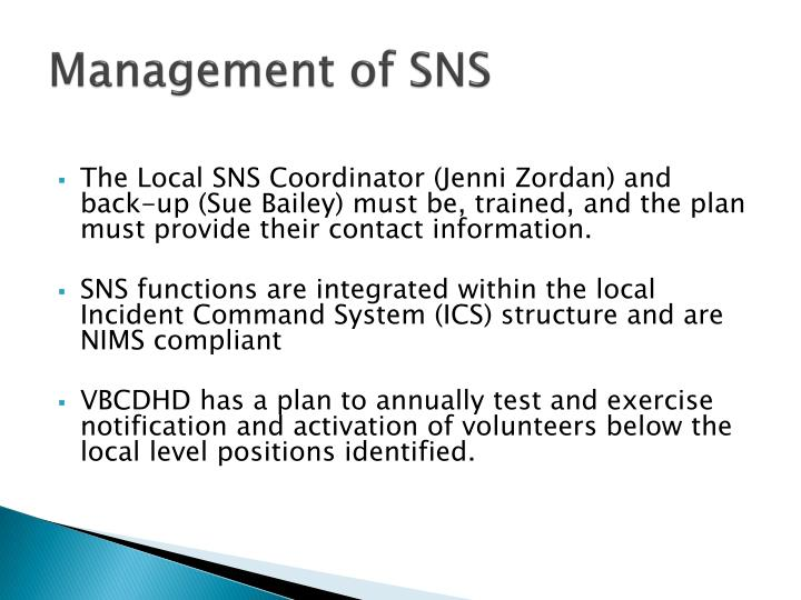 Management of SNS