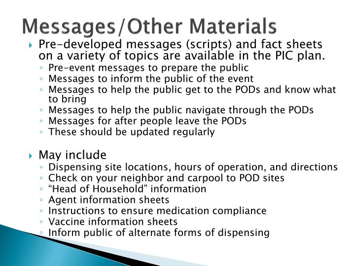 Messages/Other Materials