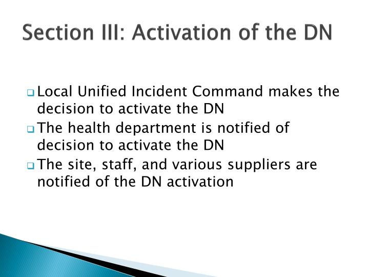 Section III: Activation of the DN