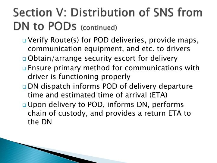 Section V: Distribution of SNS from DN to PODs