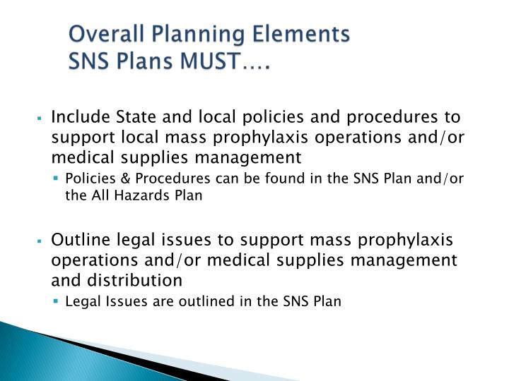 Include State and local policies and procedures to support local mass prophylaxis operations and/or medical supplies management