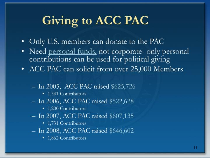 Giving to ACC PAC