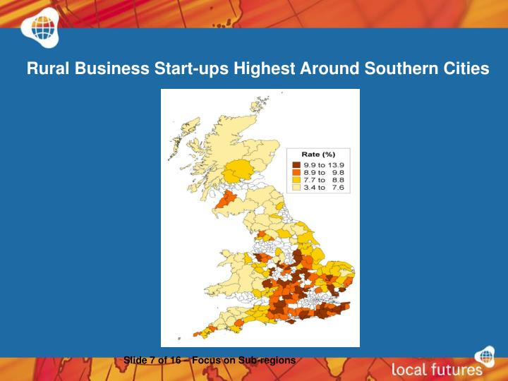 Rural Business Start-ups Highest Around Southern Cities