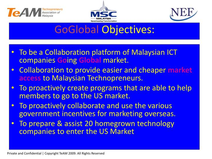 To be a Collaboration platform of Malaysian ICT companies