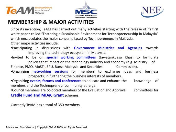 MEMBERSHIP & MAJOR ACTIVITIES