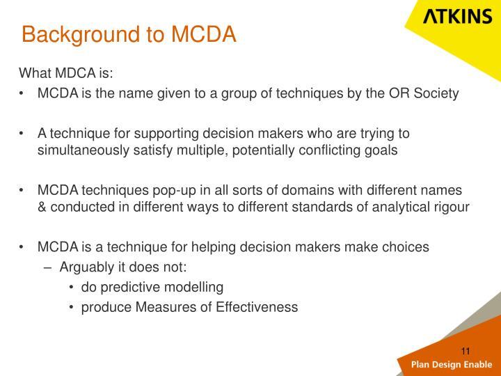 Background to MCDA
