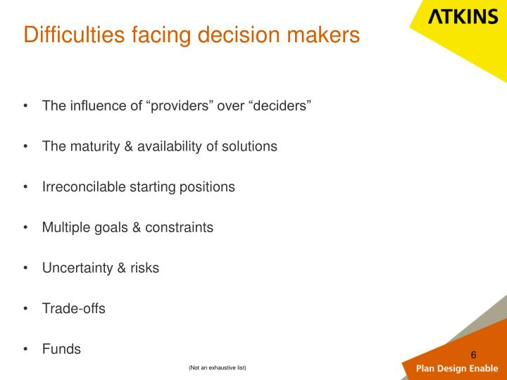 Difficulties facing decision makers