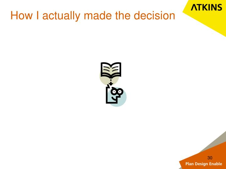How I actually made the decision