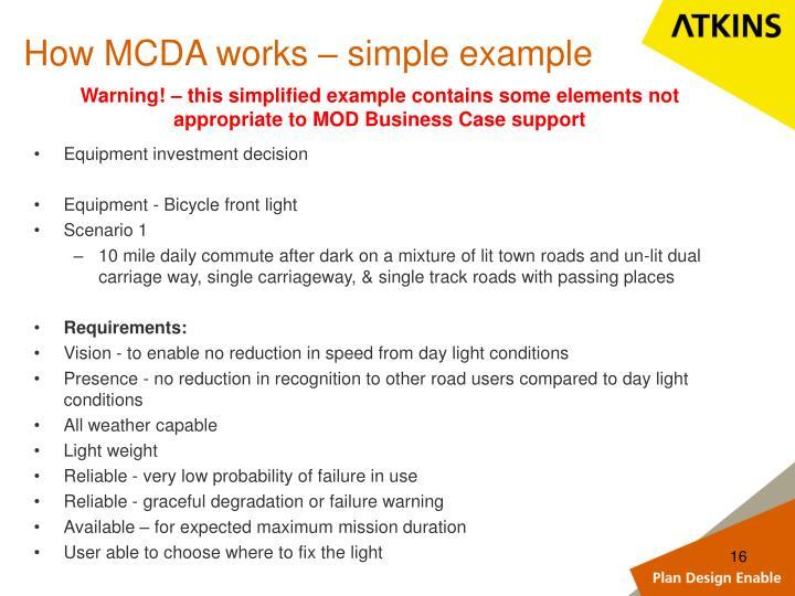 How MCDA works – simple example