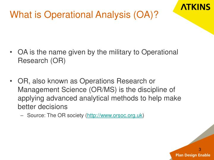 What is Operational Analysis (OA)?