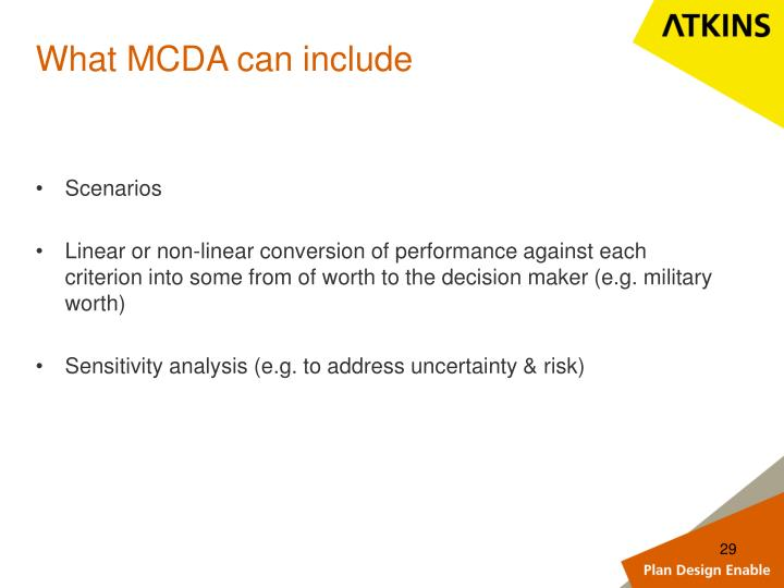 What MCDA can include