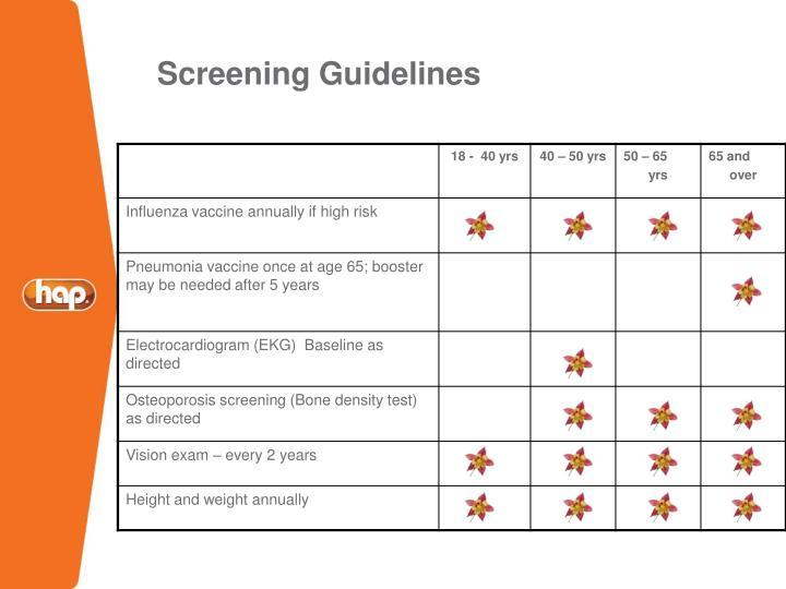 Screening Guidelines