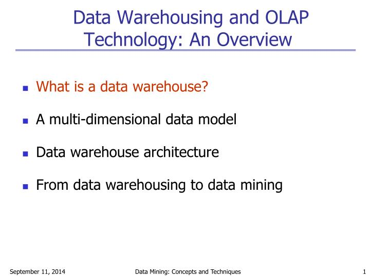 data warehousing and olap technology an overview