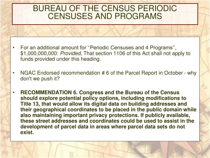 Bureau of the census periodic censuses and programs