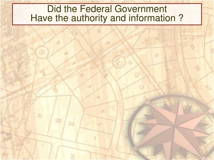 Did the Federal Government