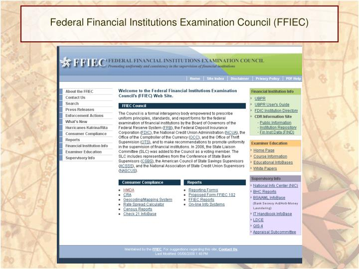 Federal Financial Institutions Examination Council (FFIEC)