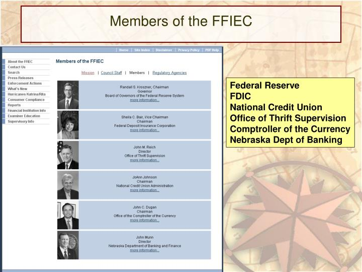 Members of the FFIEC