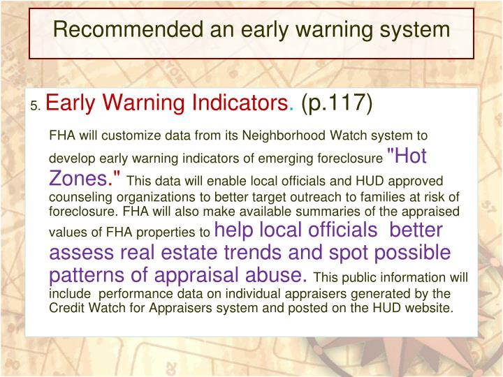 Recommended an early warning system