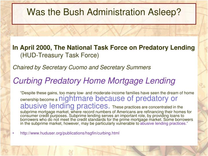 Was the Bush Administration Asleep?