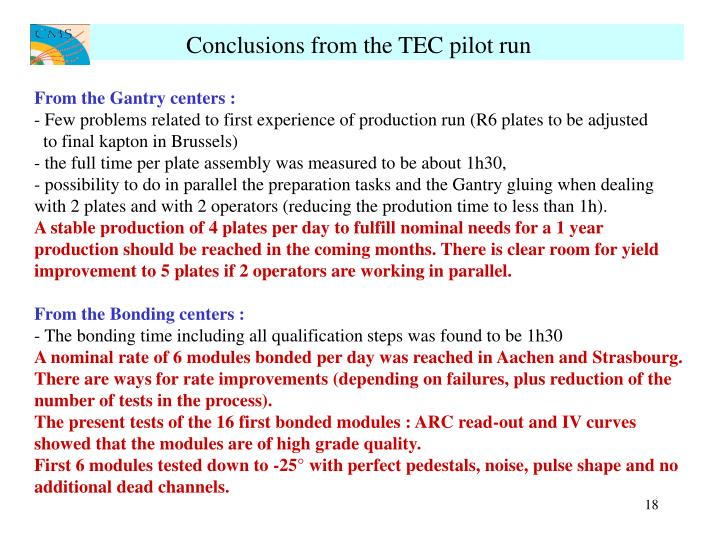 Conclusions from the TEC pilot run